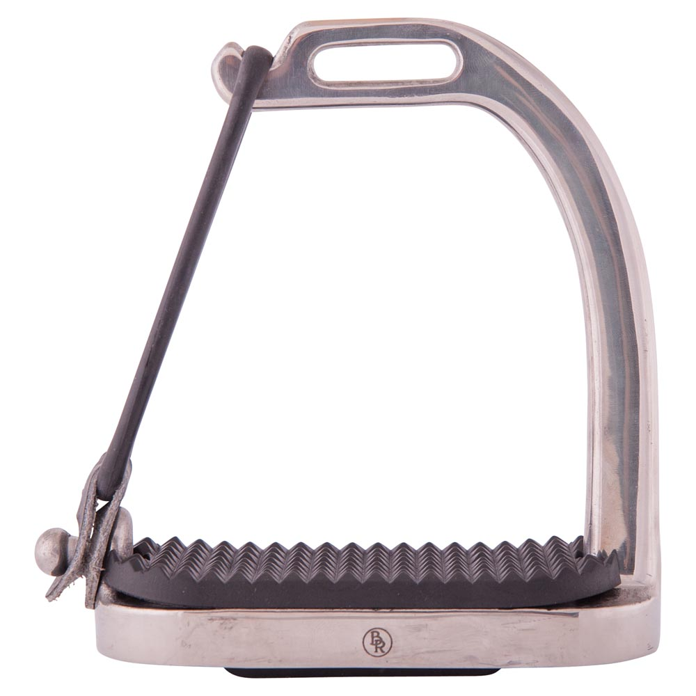 Filles stirrups with rubber bands, stainless steel with black treads. The rubber closure will open during a fall of the rider and as a result the foot will be released from the stirrup.