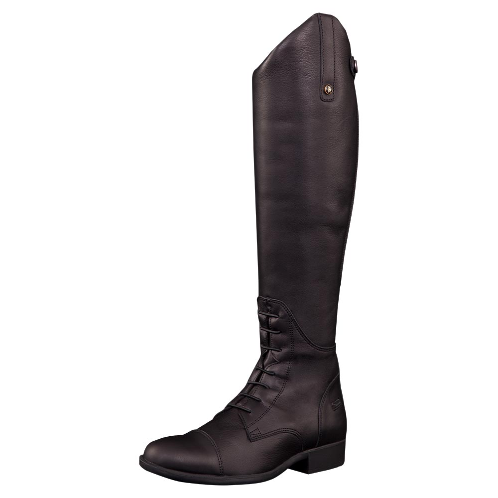 Elegant riding boot made of soft, water repellent neat leather with a thickness of 1.6-1.8 mm. The inner leg inserts are made of grained leather for additional grip. The boot features a Dermo Dry lining combined with 3 mm foam. Dermo Dry is both antibacterial and moisture regulating to help keep your feet dry and fresh. The boot is fitted with a strong Opti® zipper at the back and a leather zipper keeper with press stud at the top. The leather flap on the inside of the boot protects both the zipper and the leg (please note: do not pull on this flap when putting on the boots). The full length rear zipper makes it easy to put the boots on or take them off. The narrow insert along the zipper is made of Italian quality stretch material featuring a leather look. This stylish insert provides a close fit. The boot features a round topline (5 cm), elastic laces and two spur rests. In addition, the boot has a grip sole made of high-quality natural rubber. The heel features an impact zone with excellent shock-absorbing properties. The Texon midsole is fitted with an integrated metal shank, which allows for good stability and even pressure distribution. Additional comfort is provided by its top layer, which is made of microfiber and 4 mm foam. Both the slim cut around the ankle and the stitched square toe cap provide a great look. Made in Europe.<br><br>This model has a normal shaft.