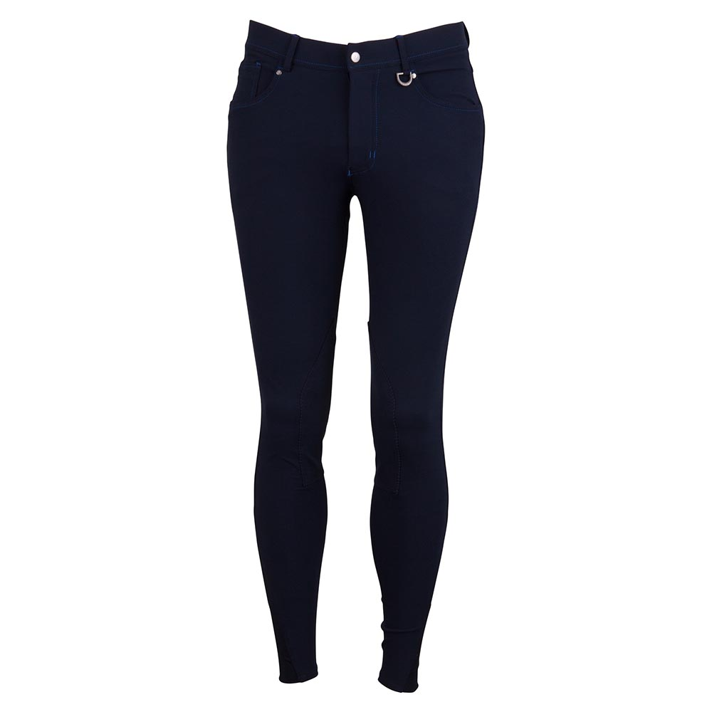 These regular fit men's riding breeches have self-fabric knee patches. The riding breeches feature two jeans pockets at the front and two flap pockets with press stud closure at the back. The stretch waistband features belt loops. The elastic lower leg inserts ensure optimal comfort in the riding boots. Material: 68% micropolyester, 22% cotton, 10% elastane.