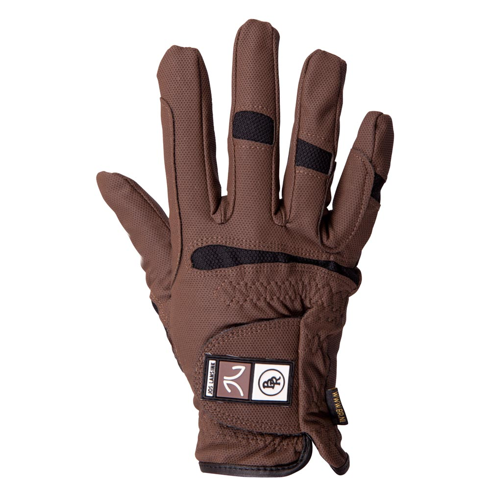 Fine, comfortable riding glove of polyurethaan/ nylon with coolmax mesh parts. With reinforced fingers and palm.
