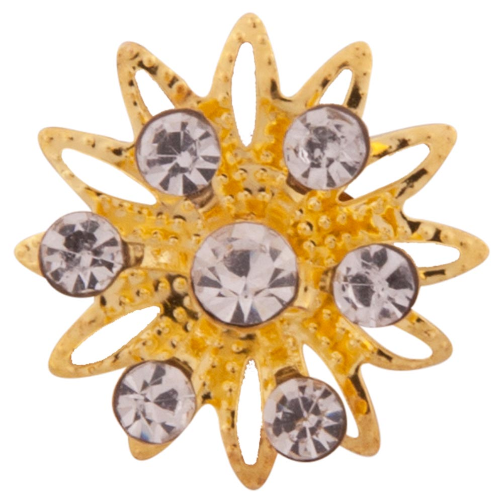 Chic, flower-shaped bun pin with small imitation diamonds and gold petals. Bun pins can be used to secure a neat bun. Insert the pin halfway into the bun. Then twist the pin 90 degrees and slide it further into the bun. Diameter 18mm. Length of pin 6 cm. Comes in set of 3. PU 6.