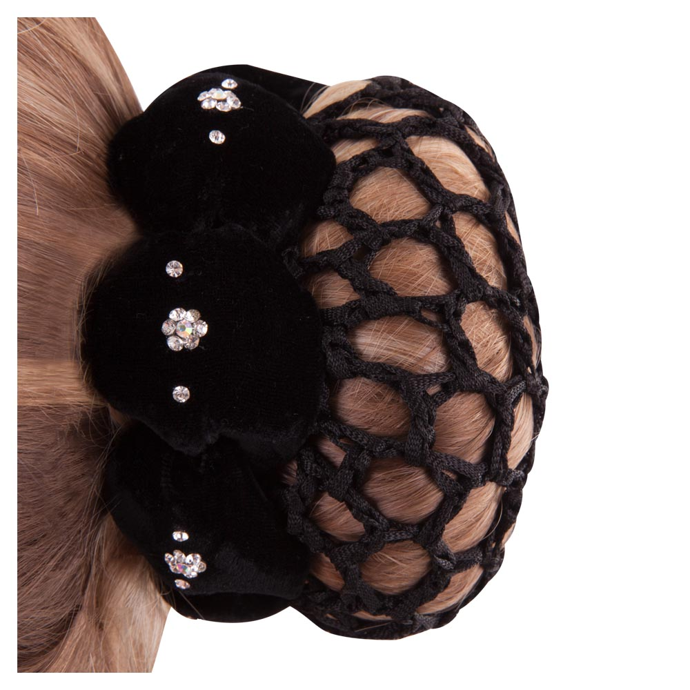 Chic velvet bun scrunchie with large-mesh bun. The velvet bun scrunchie features imitation diamonds arranged like a flower and small imitation diamonds. Wearing a bun scrunchie with integrated hairnet will keep the bun neatly in place when riding. PU 3