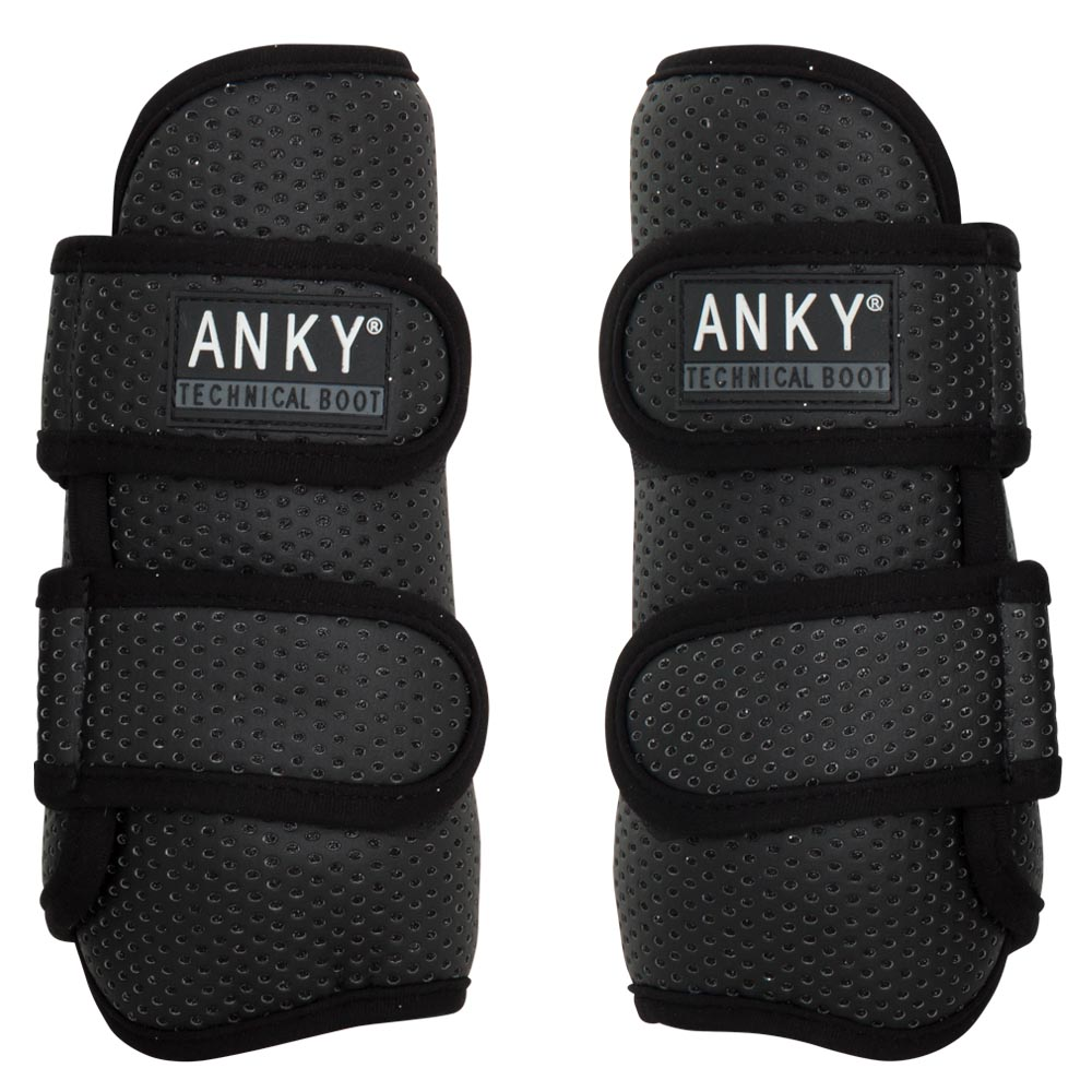 <i>The ANKY® Climatrole horse boots set a new standard when it comes to leg protection!</i><Br><br>Both the flexible, yet shockproof synthetic shell and the shock-absorbing neoprene lining are perforated. These perforations encourage the natural flow of air, as a result of which heat and moisture can be transported easily. In addition, the boots are equipped with the registered I.4U Heat Dispenser System in the form of aluminium collectors on the skin side. These small metal discs collect the heat of the leg and transport it to the outer of the boot. The aluminium remains cool during this process. The horse boots are not glued together to make sure that the technical functions are not blocked. The outer of the boot is finished with perforated synthetic leather. The underlying technical metal coating shines through the perforations, which allows for a subtle sparkling effect. The lightweight boots have secure Velcro closures and can be put in the washing machine. Complete the set with the ANKY® over reach boots Climatrole, item A31201.