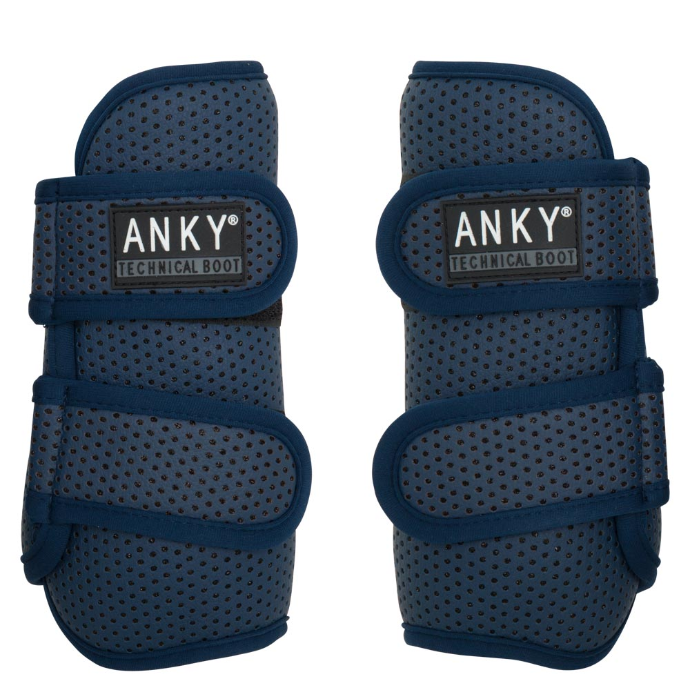 The ANKY® Climatrole horse boots set a new standard when it comes to leg protection!  Both the flexible, yet shockproof synthetic shell and the shock-absorbing neoprene lining are perforated. These perforations encourage the natural flow of air, as a result of which heat and moisture can be transported easily. In addition, the boots are equipped with the registered I.4U Heat Dispenser System in the form of aluminium collectors on the skin side. These small metal discs collect the heat of the leg and transport it to the outer of the boot. The aluminium remains cool during this process. The horse boots are not glued together to make sure that the technical functions are not blocked. The outer of the boot is finished with perforated synthetic leather. The underlying technical metal coating shines through the perforations, which allows for a subtle sparkling effect. The lightweight boots have secure Velcro closures and can be put in the washing machine. Complete the set with the ANKY® over reach boots Climatrole, item A31201.