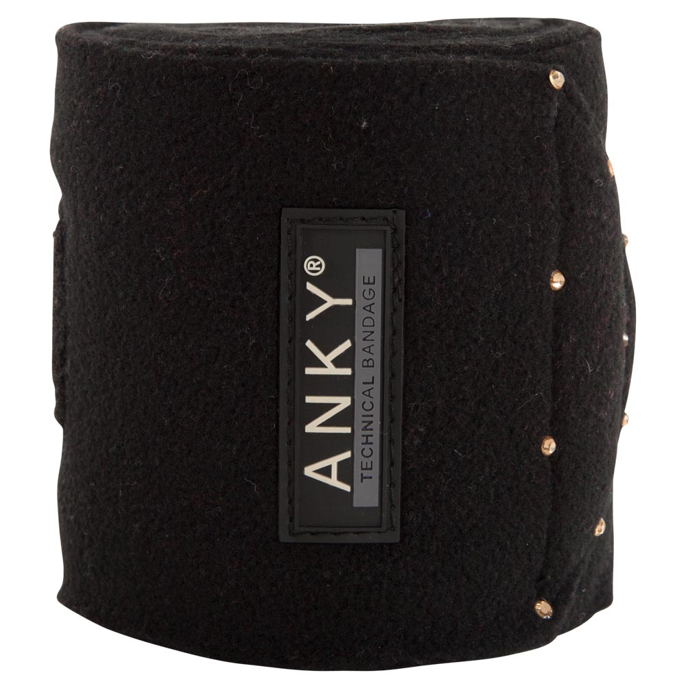 ANKY® Bandages are made of the highest quality fleece with strong anti-pilling properties. Colours are matching perfectly with the Saddle Pads. The Velcro closure is adorned with rhinestones.<BR><BR>100% Polyester