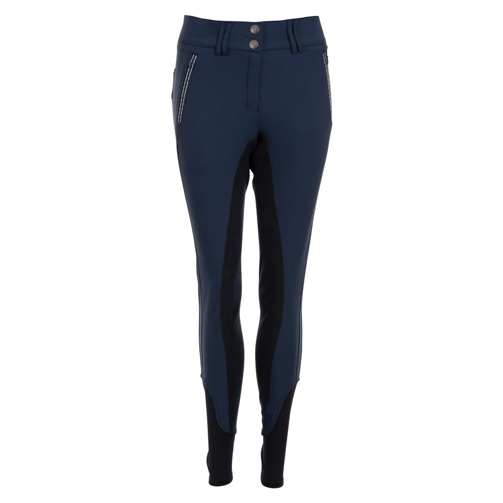 <i>Whether you wear these breeches during schooling or competitions, you will look fabulous either way!</i><br><br>The stylish glittery details and the beautiful high waist of these breeches will make you look gorgeous. The two hidden zipper pockets in front are decorated with shiny imitation diamonds alternated with decorative silver stitching. The same pattern of stitching and diamonds is also featured at the back yoke and the fake pocket flaps. Enough Bling without overdoing it! The breeches are made of Aqua-X, a technical fabric that has a high absorbency, dries fast and helps to regulate body temperature.<br><br>Fabric: 77% nylon, 16% aqua-x, 7% spandex
