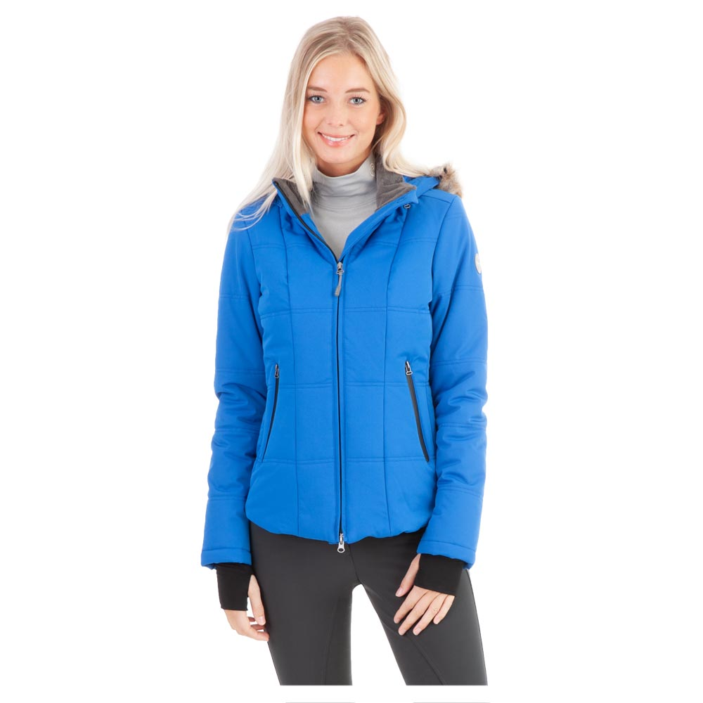 Lightweight, elegant jacket. Features double stitched stepping and zipper pockets in front. The jacket is equipped with a warm, detachable hood with a trim of artificial fur. The extended thumb-hole cuffs prevent cold hands. Made of a comfortable stretch fabric to allow optimal freedom of movement in the saddle. <br><br>88% Nylon<br>12% Spandex