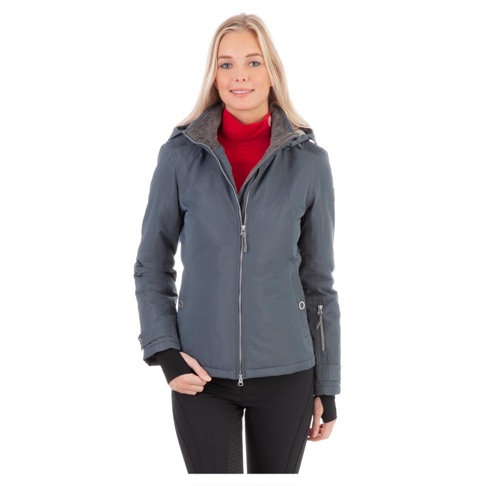 Add a touch of flair to your outfit with the Styled Jacket. A part of the back is made of elastic material to provide freedom of movement. The detachable hood has a small rain flap. The silver coloured zippers and open ring press buttons are a striking detail and the extended thumb-hole cuffs will keep your hands warm. <br><br>100% Polyester