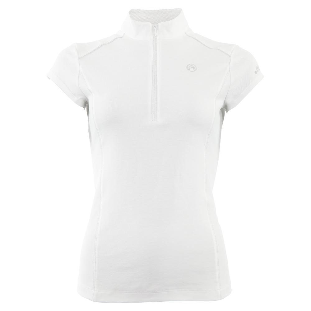 <i>Go for a classical look with added flair!</i><br><br>This white competition shirt with subtle silver details will look gorgeous on you during competitions. The zipper with shiny silver tape at the front makes it easy to take the shirt off, even while wearing gloves. The mesh fabric insert at the back has the same silver shine and not only looks good, it also increases breathability. The shirt is finished with shiny decorative stitching in the front and at the back.<br><br>Fabric: 65% polyester 35% cotton pique