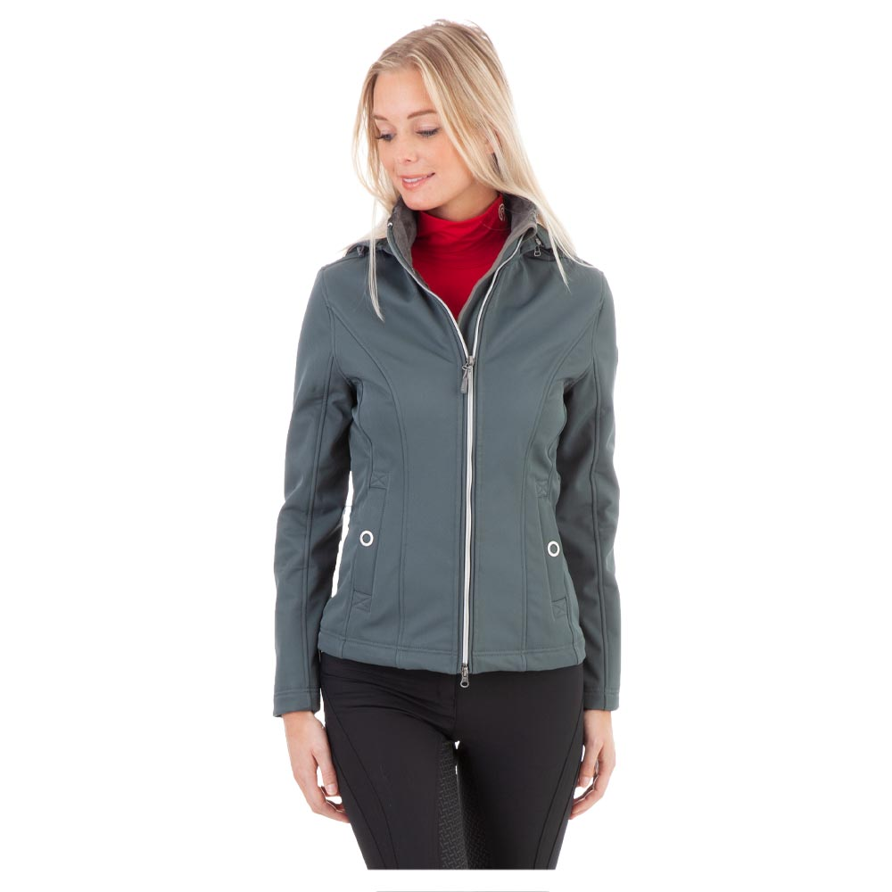 The Softshell Jacket is a great addition to your equestrian wardrobe. The fabric is breathable and water- and windproof. The width of the waist is slightly adjustable at the back. The jacket has a silver coloured two-way zipper and open ring press buttons. Can be worn with or without hood. <br><br>96% Polyester<br>4% Spandex
