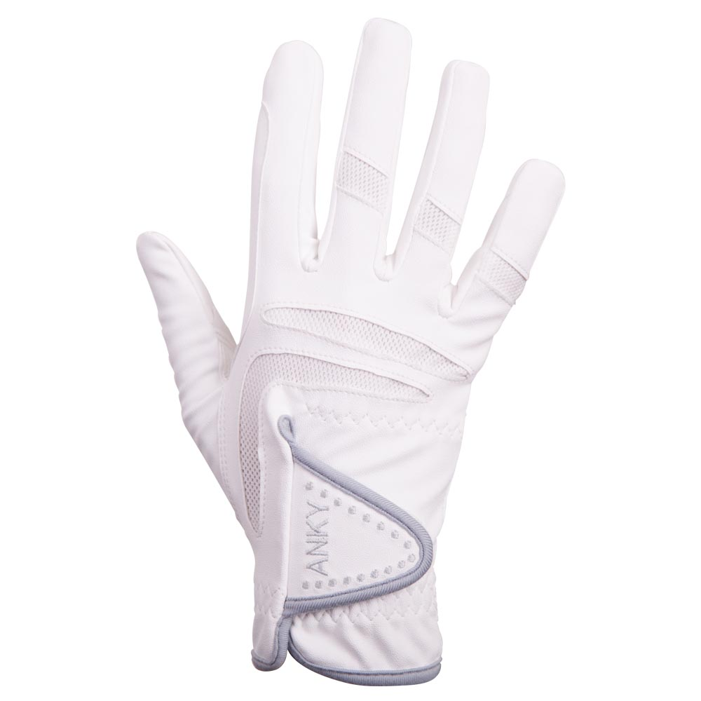 Close fitting riding gloves with reinforced white mesh insert parts on the  fingers and a Velcro closure. Ideal for all disciplines. 100% synthetic leather.