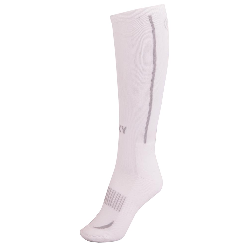 These knee high 'Technical Riding' socks are made of a fine ribb knit, made of a stretch cotton blend. The socks are seemless and provide your legs with extra support.  Made of 80% Coolmax®/20% polyester/nylon/lycra